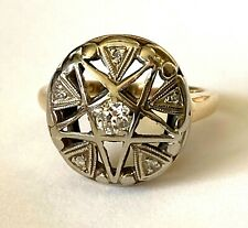 Antique Eastern Masonic Star 10K Gold Natural Diamond Ladies Ring Size 4.5
