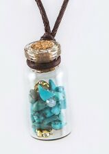 Bottled Turquoise Colored Precious Stone Pendant Necklace