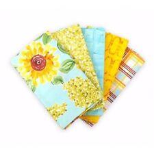 5 x Fat Quarters Sunny Gingham Sunflower Bundle 100% Cotton Patchwork Fabric