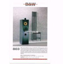 1991 B&W Loudspeakeers Matrix 803 Speakers Stereo Hi-Fi Vtg Print Ad
