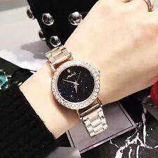 Women's Luxury Fashion Diamond Black Glitter Rose Gold Stainless Quartz Watches