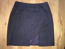 Ralph Lauren Gray Herringbone Wool Pencil Skirt Size 12P Front Slit Vent