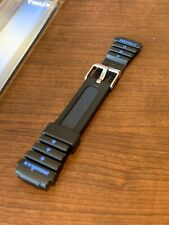 New Vtg Timex Ironman 15mm Watch Band Black Replacememt Strap INDIGLO
