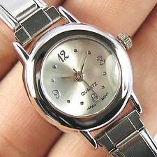 Silver White Round Stainless Steel Italian Charms Bracelet Quartz Watch BA03