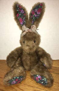"ROSEMARY First & Main 2002 PLUSH BROWN 18"" Rabbit Purple floral Ears paws E1044"