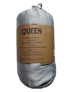 Ienjoy Home Luxury Comfort Bamboo 4 Piece Sheet Set, Queen, Light Gray