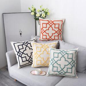 "20"" Sofa Seat Cushion Cover Thicken Cotton Linen Geometric Embroidery Pillowcase"