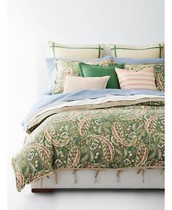 Ralph Lauren Home Allie Paisley 3-Pc FULL/QUEEN Comforter Set Cotton Green $420
