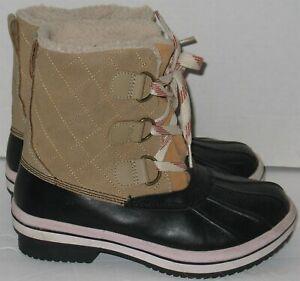 Womens 6 Tan Faux Suede Faux Fur Trim Black Rubber Winter Rain Ice Muck Boots