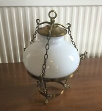 Vintage Brass Fitting and White Glass Light Shade