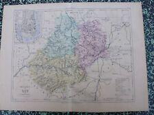 Carte géographique couleur 19°: LOT  avec le plan de CAHORS