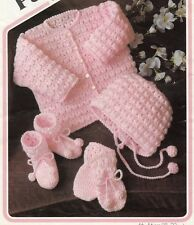 Vintage Baby Crochet Pattern Copy JACKET Bonnet Bootees Mitts  in 4 Ply