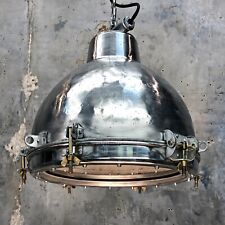 Vintage Industrial Light - Aluminium Dome & Glass Pendant Lamp Edison Bulb