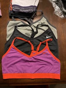 Lot of 3 Used Nike Indy Sports Bras Large Purple, Grey, And Solid Black. Dri-Fit