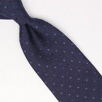 John G Hardy Mens Silk Wool Necktie Navy Blue Polka Dot Weave Woven Tie Italy