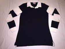 New Ladies Front Row striped sleeve rugby shirt .Navy/White .M/12. R63