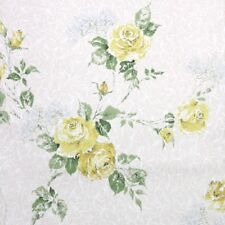 1950s Floral Vintage Wallpaper Yellow Roses and Blue Baby's Breath
