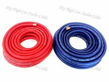 50 ft 4 Gauge AWG 25' BLUE / 25' RED Power Ground Wire Sky High Car Audio