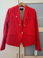 MANGO Ladies Red Blazer Suit Jacket XL Cotton & Linen Blend Fully Lined BNWT