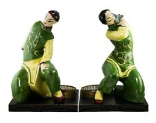 RARE LARGE HEDI SCHOOP CERAMIC ASIAN FIGURES WITH TABLE LAMP BASES