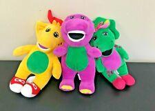 "Barney the Purple Dinosaur 9"" Stuffed Plush Set, Baby Bop CJ, 2017 Mattel"