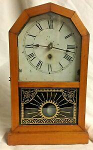 Antique 1800's American Clock, Wood and Metal, Rocket Time Piece by Jerome & Co