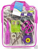 Sewing Repair Mend Kit Scissor Needle Thread Buttons Pins Pink Case Dritz New