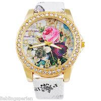 LP Damen Uhr Armbanduhr Quarzuhr Analog Lederband Blumen Strass Boho 24cm M13135