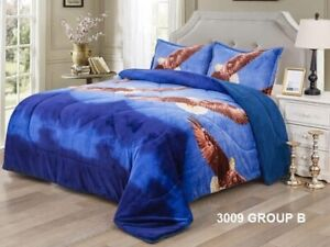 EAGLE BLUE CAMILA BLANKET WITH SHERPA VERY SOFTY THICK AND WARM 3PCS KING SIZE