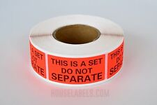 """1 Roll ; 500 Labels 1"""" x 2"""" Pre-Printed This Is A Set Do Not Separate Labels"""