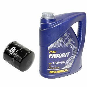 Motoröl Set 15W-50 API SL CF 5 Liter Ölfilter SM124 für Opel Kadett E 1.5 TD