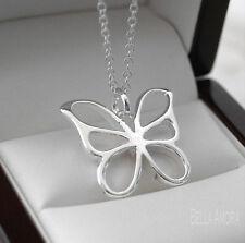 """Sellada 925 plata esterlina plateado Mariposa Colgante De 18 """"Collar Cadena -144"""