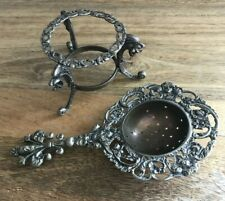 """Antique Italian Over The Cup Tea Strainer And Stand 6 1/4"""" length Abby Fh1"""