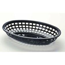 """Tablecraft Classic Oval Black Plastic Serving Basket - 9 1/2""""L x 6""""W x 1 7/8""""H"""