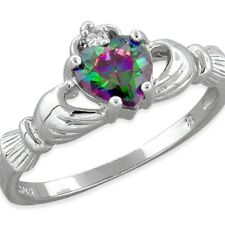 .925 Sterling Silver Ring size 13 CZ Claddagh Heart Rainbow Topaz Ladies New