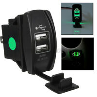 3.1A Car Auto Dual USB Charger Socket LED Light Rocker Switch Waterproof Green