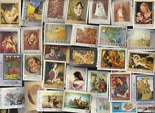 200 ALL DIFFERENT ART & PAINTINGS ON STAMPS