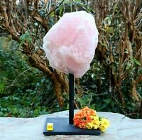 Rose Quartz Boulder on Metal Stand - Natural Raw Mineral Crystal Healing 1612g