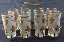 8 Frosted Glasses Tumblers GOLD LEAVES LEAF Libbey Mid century modern cool