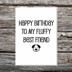 funny cute birthday card for the dog - happy birthday to my fluffy best friend