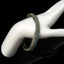 Vintage Bangle Bracelet Mid Century Aqua Rhinestones Green Glass Beads Silver
