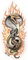 Cool COBRA SNAKE & VAMPIRE SKULL w/ Fangs & Flames Vinyl CAR Decal ASIAN Sticker
