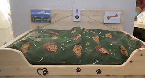 Super Large Rustic Dog Bed & Mattress Solid Wood Handmade Wooden Pet Bed