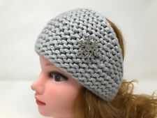 Women Kerchief Hand Knit 100% Cashmere Gray color Fashion Brooch Warm Headscarf