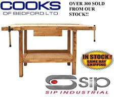 SIP (S.I.P) 01441 Carpenters Woodworking Oak Wooden Work Bench Workbench 2 Vices