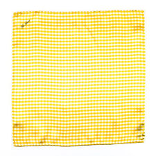 New GIO GENCO Handmade Yellow Checkers 100% Silk Pocket Square Handkerchief $150