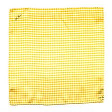 New GIO GENCO Handmade Yellow Checkers 100% Silk Pocket Square Handkerchief $150