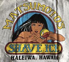 MATSUMOTO'S SHAVE ICE T-Shirt XL Grey Local girl Haleiwa Hawaii Island Classic