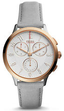 Fossil CH3071 Abilene White Dial Grey Leather Strap Chronograph Women's Watch