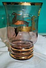 Vase ancien en verre doré - Biches - Cerfs - Chasse - Chasseur - Saint-Hubert